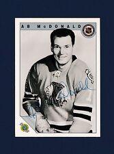AB McDonald signed Chicago Blackhawks 1992 Ultimate Original 6 hockey card
