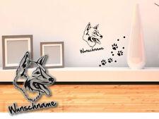 Wandtattoo Tamaskan Dog Husky Wolf-dog Finnish H419 Wunschname Tatze