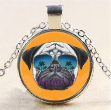 COOL PUG WITH SUNNY'S Glass Cabochon Tibet Silver Pendant Necklace Chain + Gift