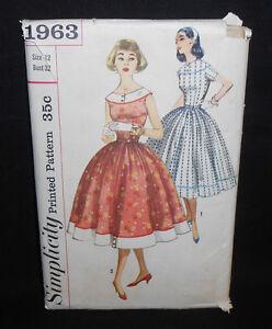 Vtg 50s UNCUT Simplicity Jr. Miss PROVINCIAL DRESS Sewing Pattern 1963 12/32