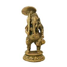 Ganesha Travel Brass Gold Statue Ganesh Hindu Elephant God Umbrella Kettle Idol