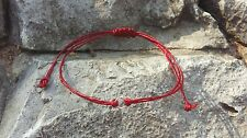 925 Sterling Silver Thai Buddhist Wristband Bracelet Ruby Red Wax Cotton Weave