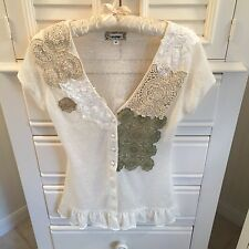 LuLumari blouse short sleeve size medium M tan