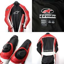 Alpinestars Mens 48 Red Black Leather Full Body Armored Motorcycle Riding Suit