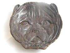 SOLID BRONZE PUG DOG FACE BOWL
