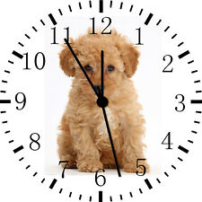 Cute Poodle Puppy Wall Clock Nice For Gift or Home Office Wall Decor F20