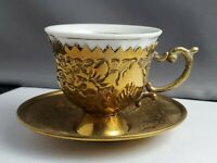 Antique Brass And Porcelain demitasse Teacup Signed HOS