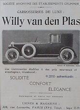PUBLICITE WILLY VAN DEN PLAS CARROSSERIE DE LUXE VOITURE DE 1923 FRENCH AD PUB