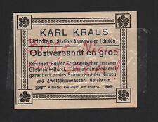 URLOFFEN Baden, Werbung 1912, Karl Kraus Obstversandt en gros