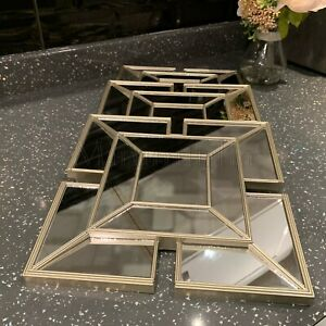 SET OF 3 Square Gold ART DECO Arched Wall MIRRORS WALL ART Tile Look Gold MIRROR