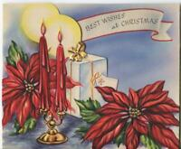 VINTAGE CHRISTMAS DEEP RED CANDLES POINSETTIA CANDLE HOLDER LITHO GREETING CARD