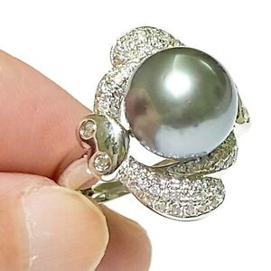 Stunning Peacock Grey Green 10.7mm Tahitian South Sea Round Pearl Ring Size 7