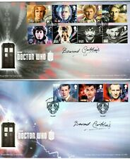 """Doctor Who 2013 """"Complete Set on 2 Fdcs"""" Stamp Covers Signed by Bernard Cribbins"""