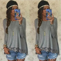 Ladies Womens Summer Long Sleeve Shirt Casual Blouse Loose Cotton Tops T Shirt