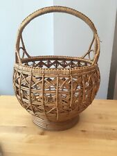 Vintage Round Wicker Willow Basket With Handle Large