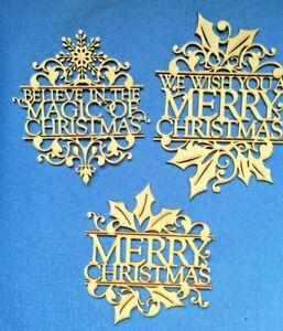 MDF Wooden Christmas  Door Plaque Gifts  Card Topper Embellishments