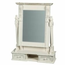 Gründerzeit Make-Up Mirror in Country House Style, Country Mirror Shabby White