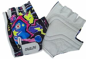 ANRO Cycle Fitness Gloves Size Medium Lycra Back Black Abstract Multicoloured