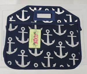 NWT N. Gil Navy Blue Anchors 3 compartment expandable Trunk Organizer Ngil