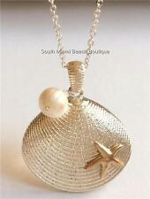 Silver Pearl Shell Necklace Sea Life Starfish Beach Island Freshwater Plated USA