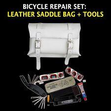 Set di riparazione bici: Borsa in Pelle, Multi-Tool, forare riparazione KIT Made in UK
