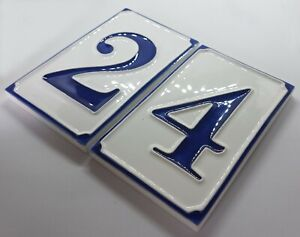 Ceramic Handmade Italian 11cm x 7cm Simple Blue & White House Numbers & Letters