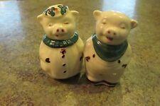 Rare Vintage Shawnee Pottery Smiley Pig Green Bib Salt & Pepper Set