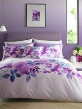 Belle Roseanne Floral Housse De Couette Réversible Couette Literie Noir Violet Gris