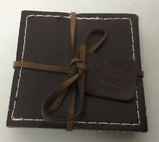 -BLACK REAL LEATHER BLACK HIDE ROUND COASTERS HAND CRAFTED IN STOCKPORT