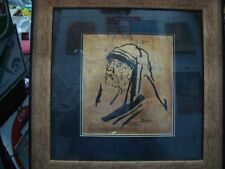 Painter M F Husain  Mother Teressa painting on Gold Foil from India 1995