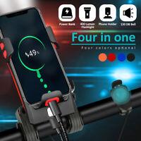 2000/4000 mAh LED Bicycle Headlight Bike Horn Handlebar Phone Holder Cycling