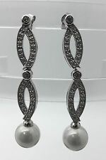 Sterling Silver Chandelier Dangling Fashion Earrings With Pearls Fine Ladies