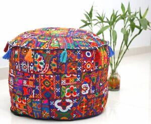 Embroidery Pouf Cover Vintage Patchwork Footstool Mandala Ottoman Pouffe Case