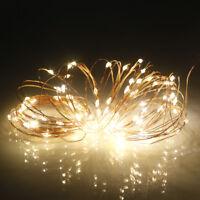 WARM WHITE 100 LED Twinkle Fairy Light String 8 Modes + USB Plug Holiday Decor