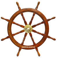 "36"" Antique Large Nautical Handcrafted Wooden Ship Wheel Home office Wall Decor"