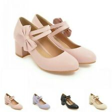 Sweet Lady Mary Jane Lolita Shoes Block Heels Bowknot Ankle Strap Casual Shoes D