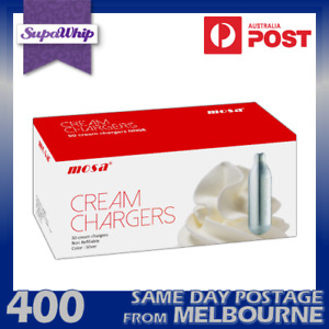MOSA CREAM CHARGERS - 50 PACK X 8 (400 BULBS) WHIPPED N2O CARTRIDGE NITRO OXIDE