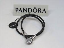 New Pandora Small Black Double Leather 13.8 35 CM SUMMER Bracelet 597194CBK-D1