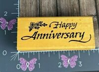Embossing Arts Happy Anniversary Rubber Stamp Wood 1993 #V9