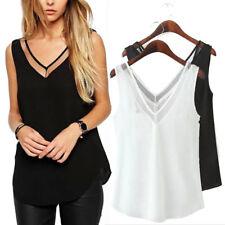 Women Chiffon V-Neck Vest Sleeveless Summer Casual Loose Tank Top T-Shirt Blouse