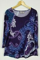 Chico's Women's 2 Large Purple Blue 3/4 Sleeve Light Soft Sweater Knit Top