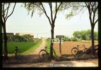 CHARMING RURAL SCENIC China Fields 1970s gravel road & bicycles  - Orig slide