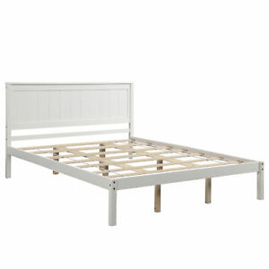 Platform Queen Bed Frame with Headboard Wood Slat Support No Box Spring Needed