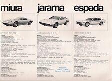 Lamborghini 1971 UK & USA Market Leaflet Sales Brochure Jarama Espada Miura