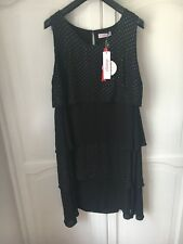 Black Polka Dot Sheego Dress Size 22 Frill Party