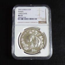 "China 10 yuans Panda 1997 MS67 (NGC) ""Large Date"" silver 99.9% 1 oz"