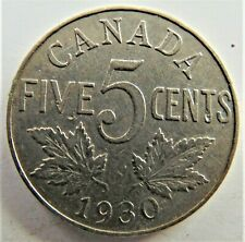 1930 CANADA, George V, nickel ,5 Cents, grading Good FINE.