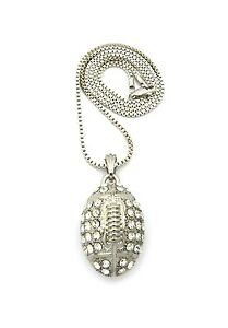 """Men's Hip Hop Sports Football Rugby Ball Pendant 24"""" Box Chain Necklace MSP083BX"""
