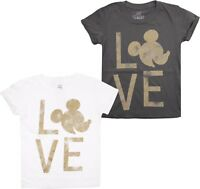 Disney - Mickey Mouse Love - Distressed Gold Look - Girls T-Shirt - 7-14 Years