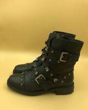 Kurt Geiger Carvela Black Leather Studded SANDER Biker Boots Sz 6 EU 39 RRP £189